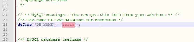 Поиск DB_NAME в wp-config.php